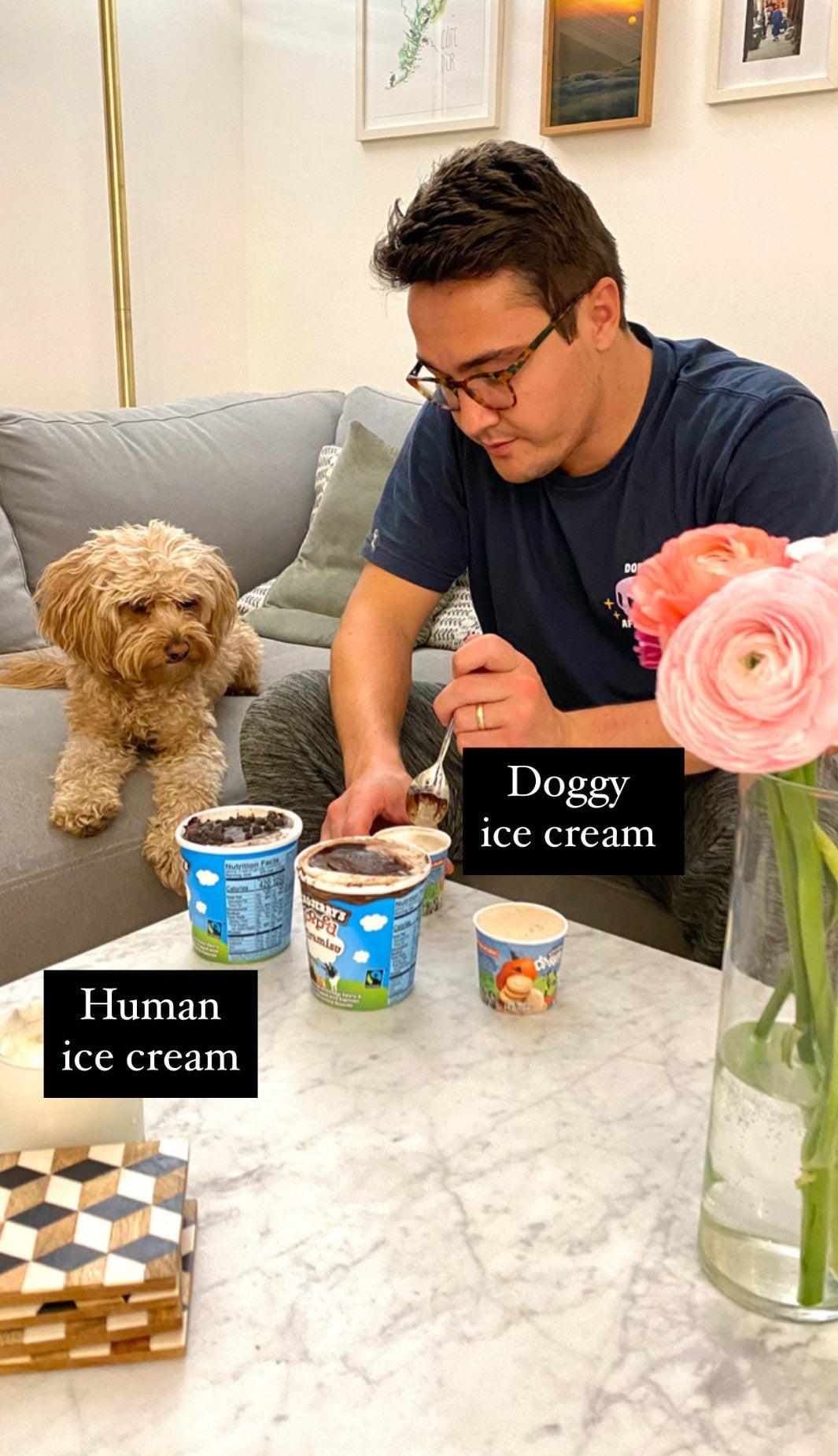 My Husband eating ice cream with Hudson.
