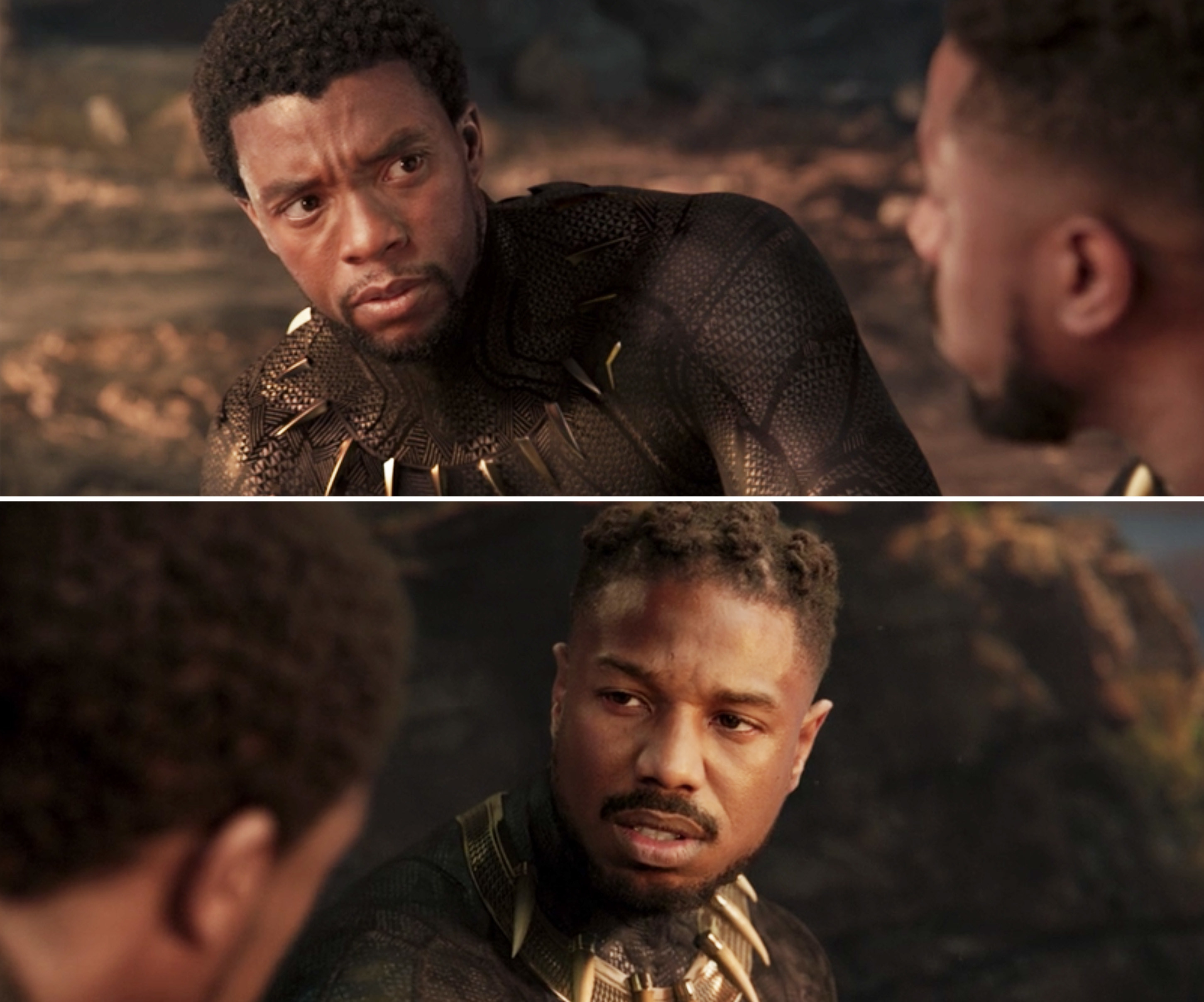 T'Challa and Killmonger sitting next to each other and talking