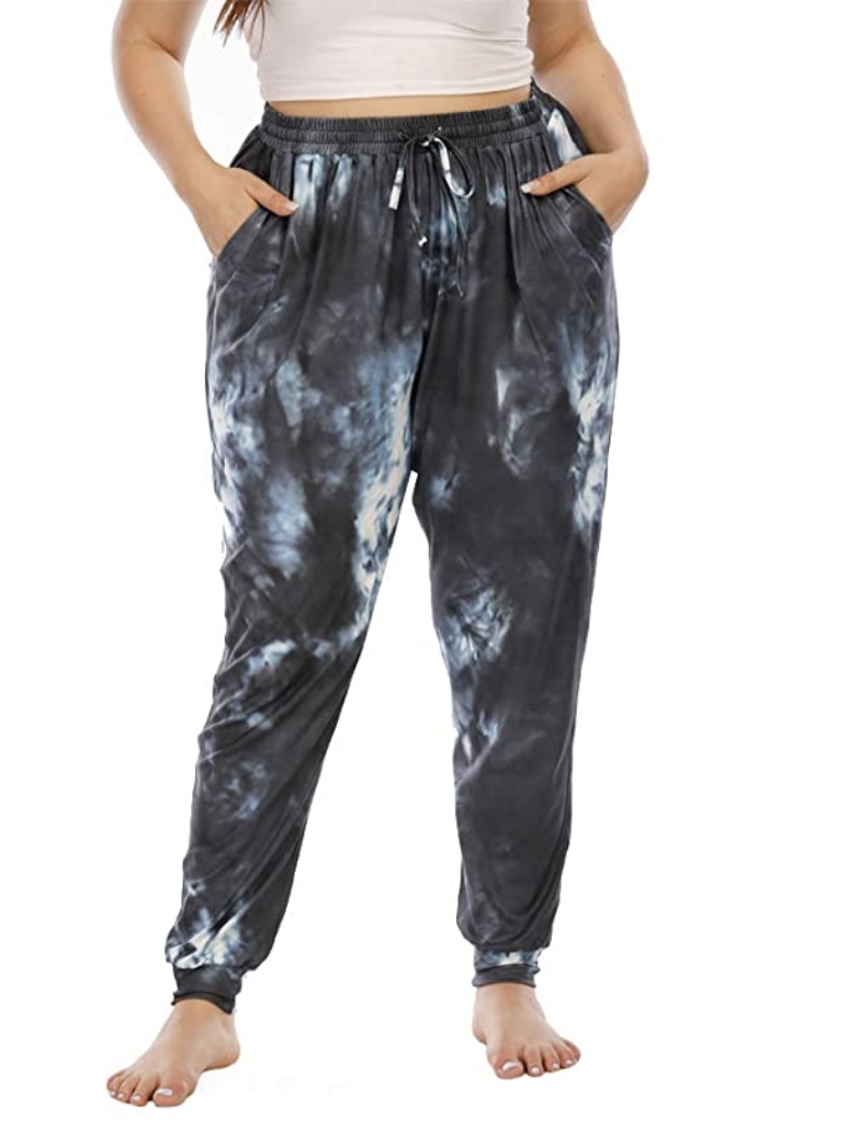 model wears tie dye lounge pants