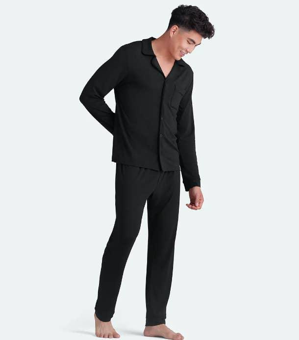 Model wearing black PJ set