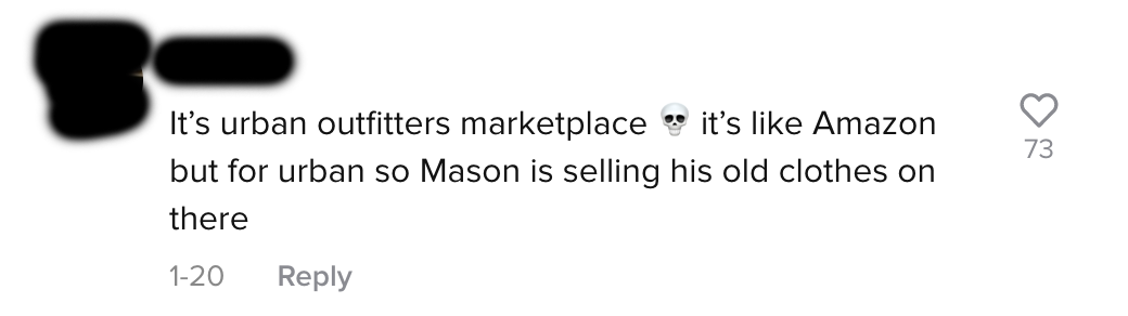 """A user said """"It's urban outfitters marketplace [skull emoji] it's like Amazon but for urban so Mason is selling his old clothes on there"""