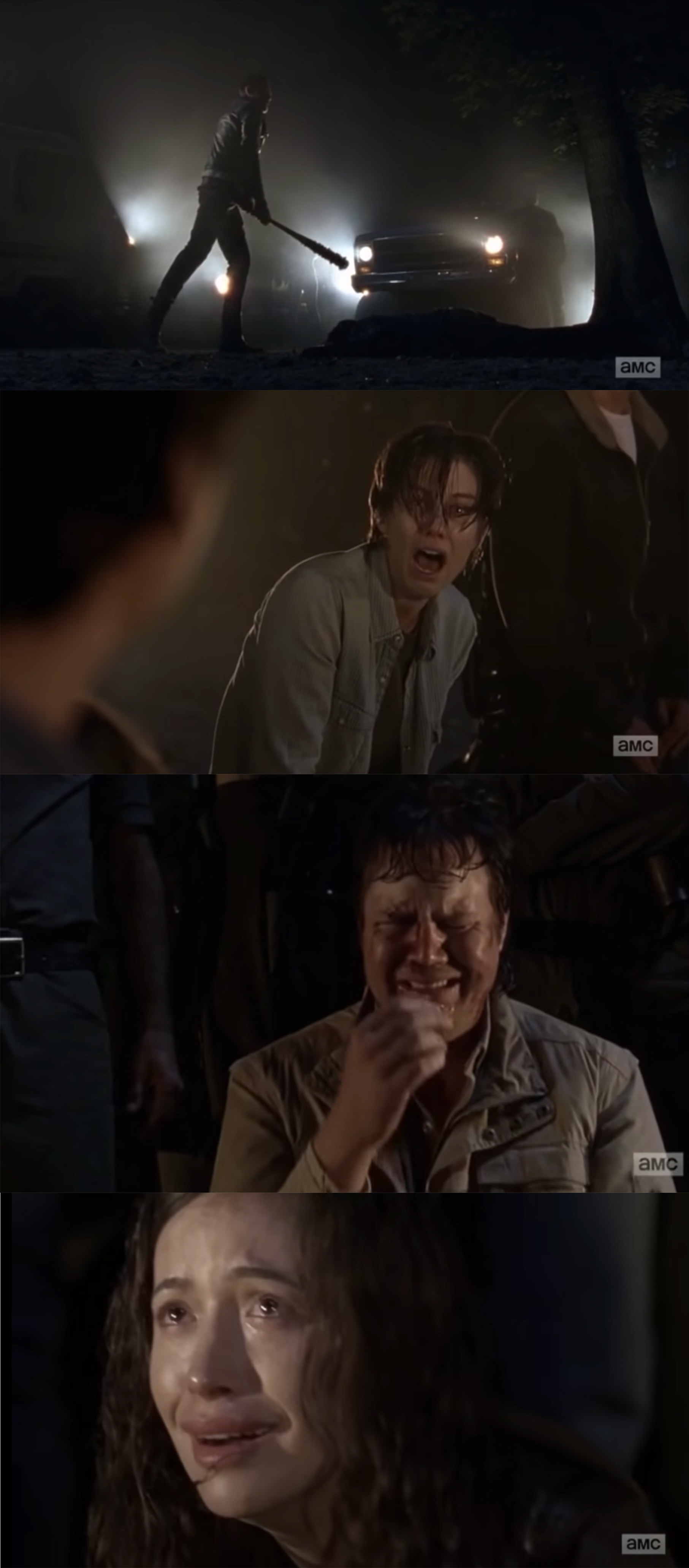 Negan beating Glenn with a bat while his friends and family watch in horror