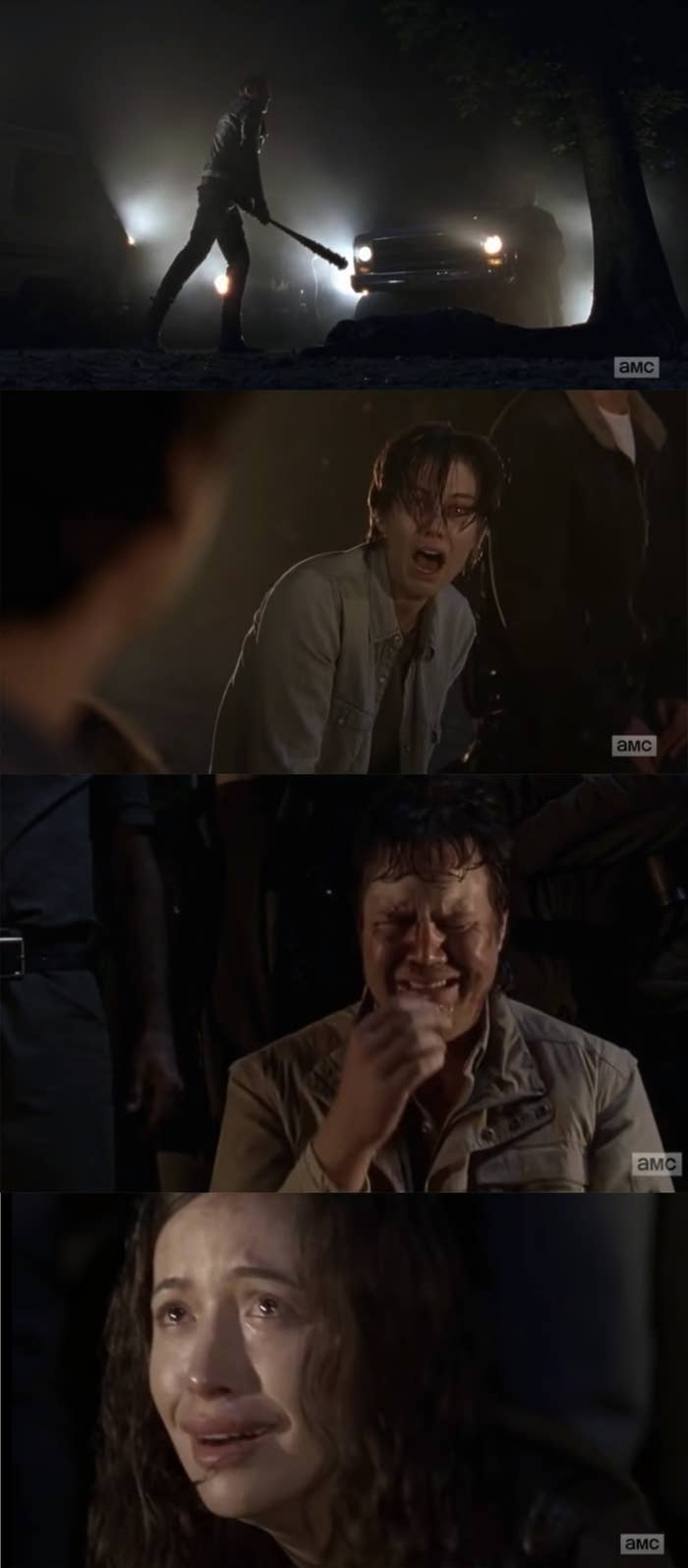 Negan beating Glenn with a bat while his friends and family watch in horror.