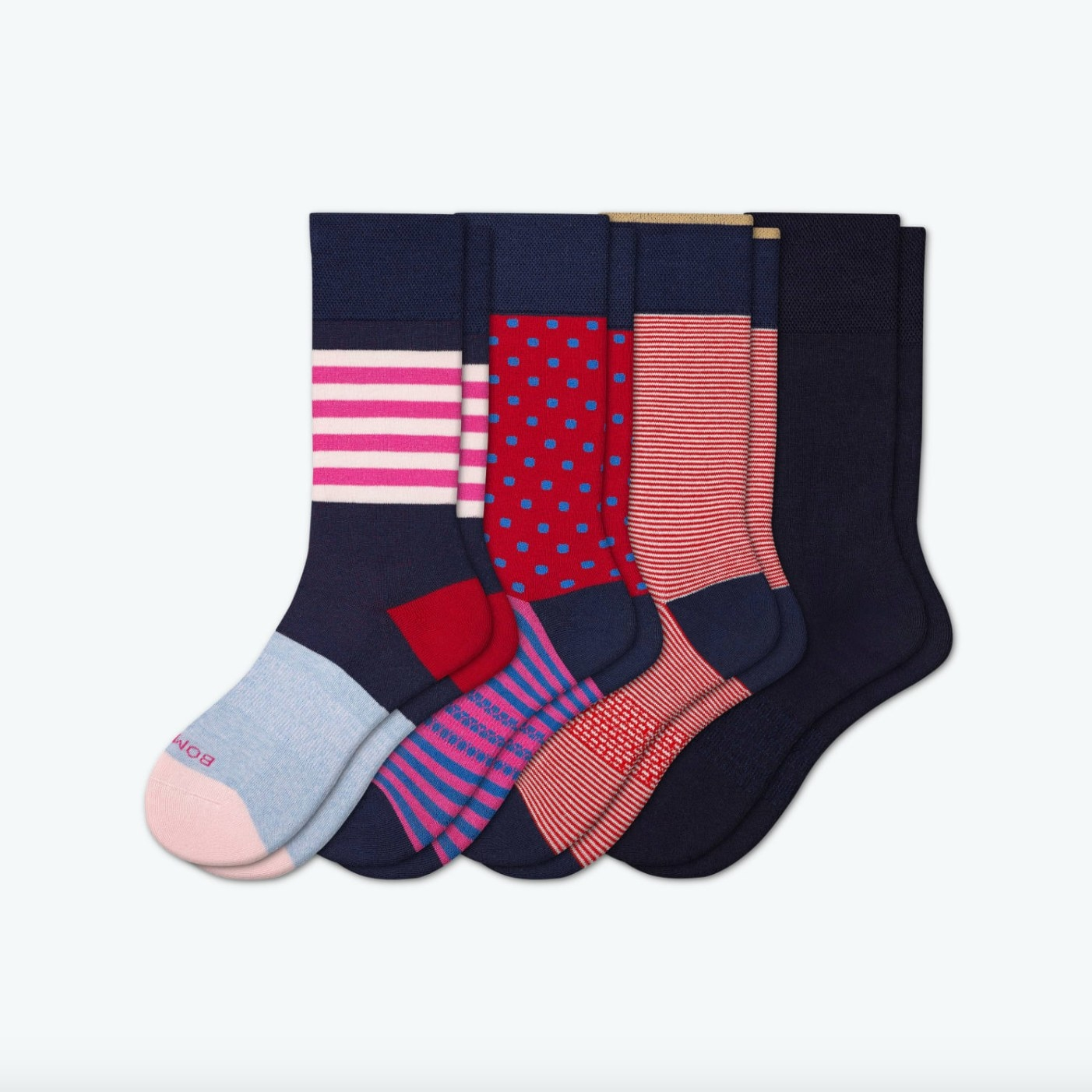 The Bombas men's dress socks in shades of red