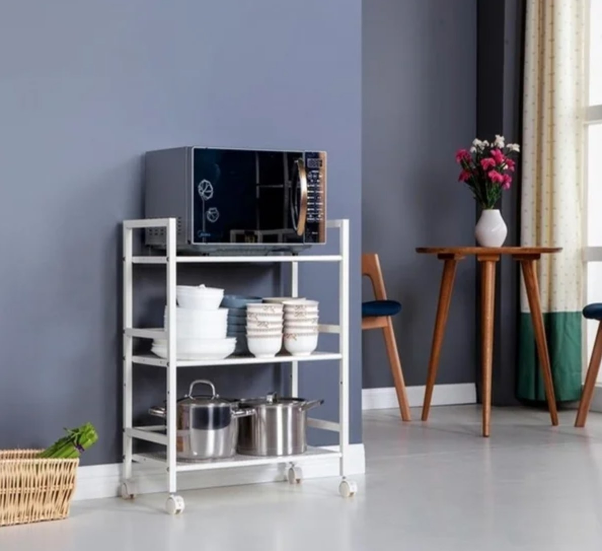 The three-tier utility rolling cart in white