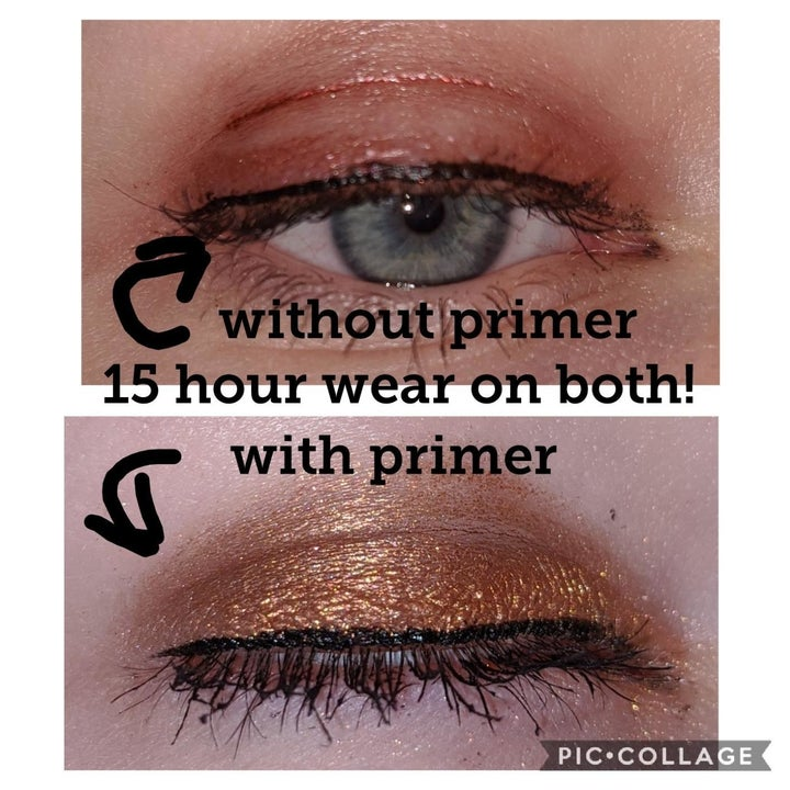 Reviewer photo comparing their eye makeup with and without the primer, showing their eyeshadow flakes and creases without primer