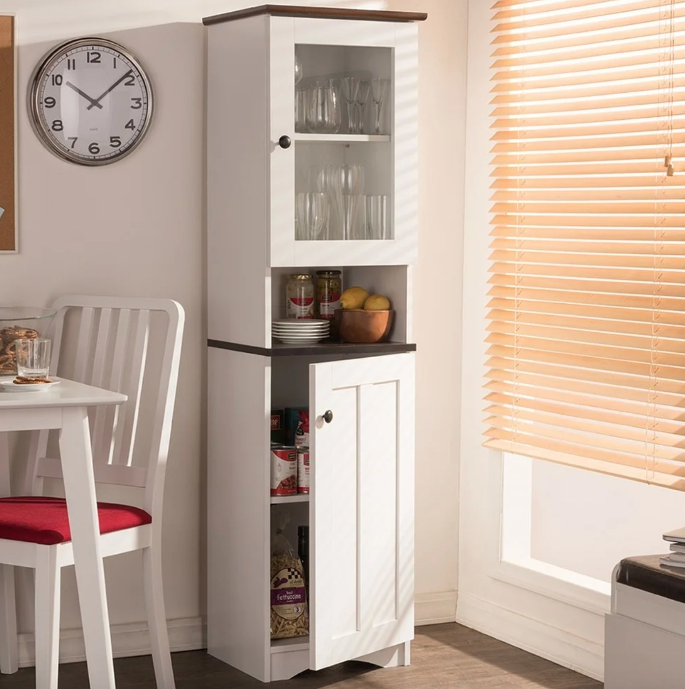 The white wood kitchen cabinet