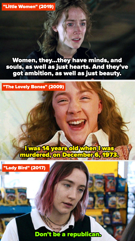 "Saoirse Ronan in ""Little Women,"" ""The Lovely Bones,"" and ""Lady Bird"""