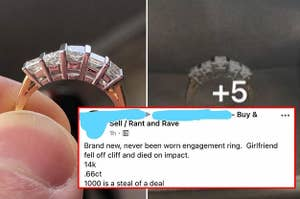A Facebook Marketplace listing for an engagement ring that says the recipient fell off a cliff and died
