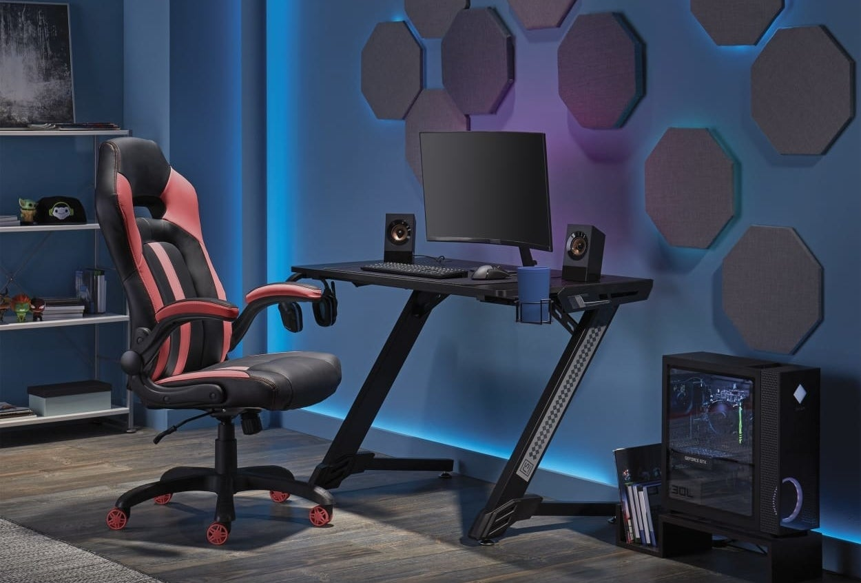 a red and black gaming chair