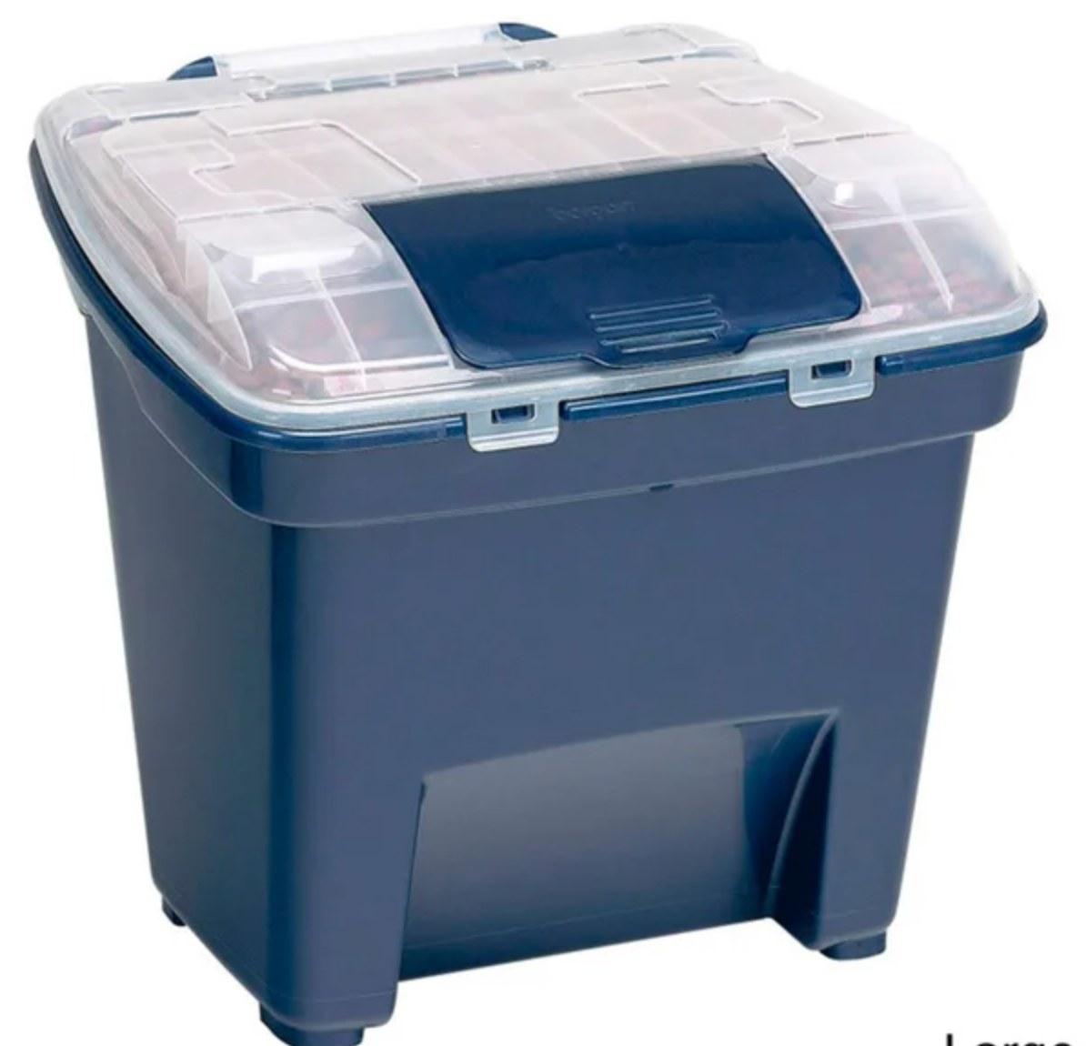 The smart storage bin in blue