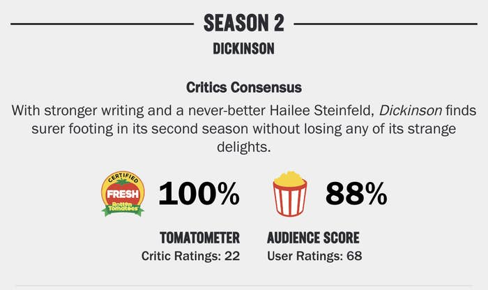 Season 2 of Rotten Tomatoes having a 100% Tomatometer score and an 88% audience score