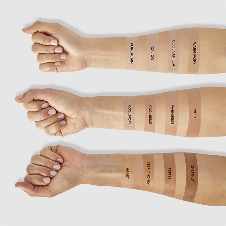 three arms with different swatches of the product on them