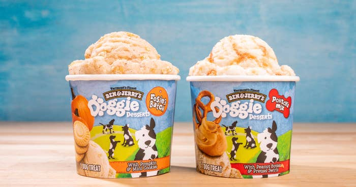 Two containers of doggie ice cream from Ben & Jerry's