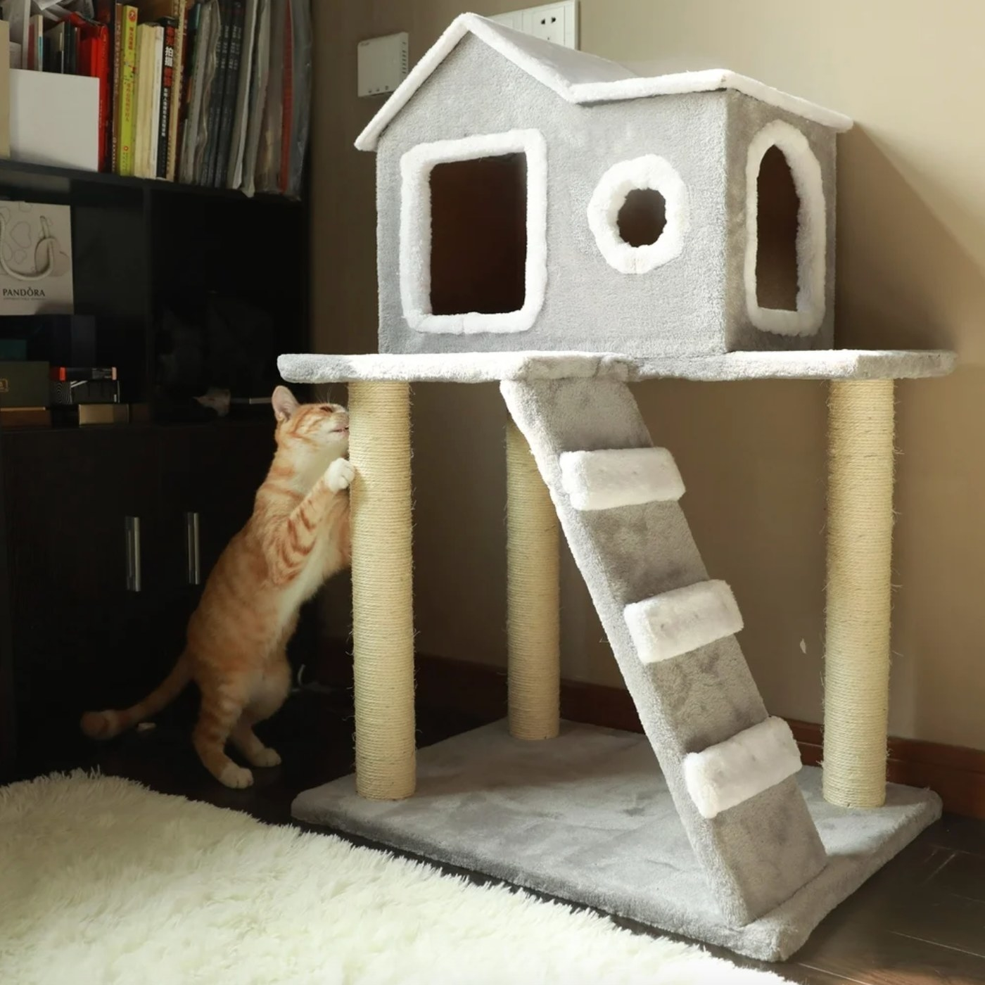 The cat tree condo tower in gray