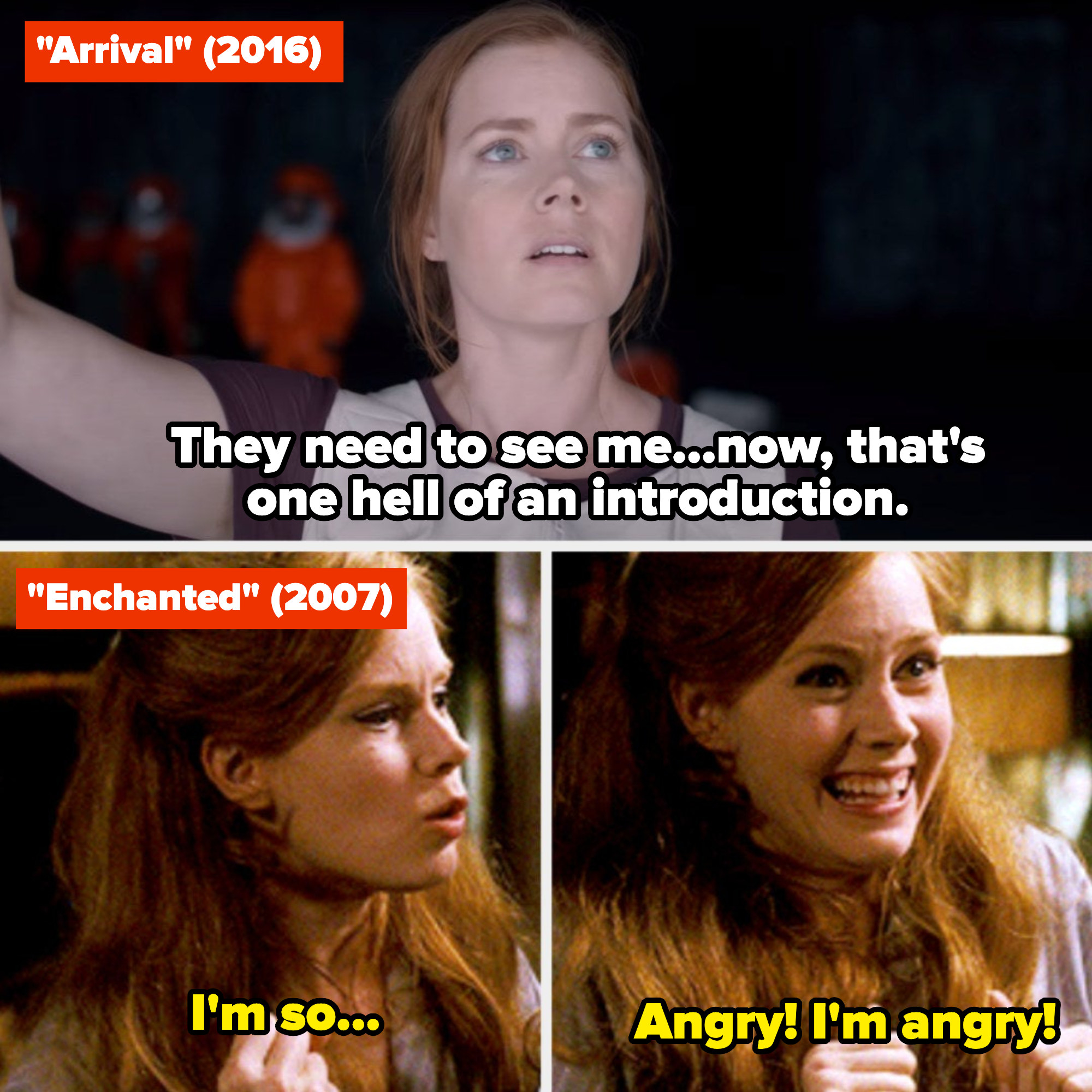 """Amy Adams in """"Arrival"""" and """"Enchanted"""""""