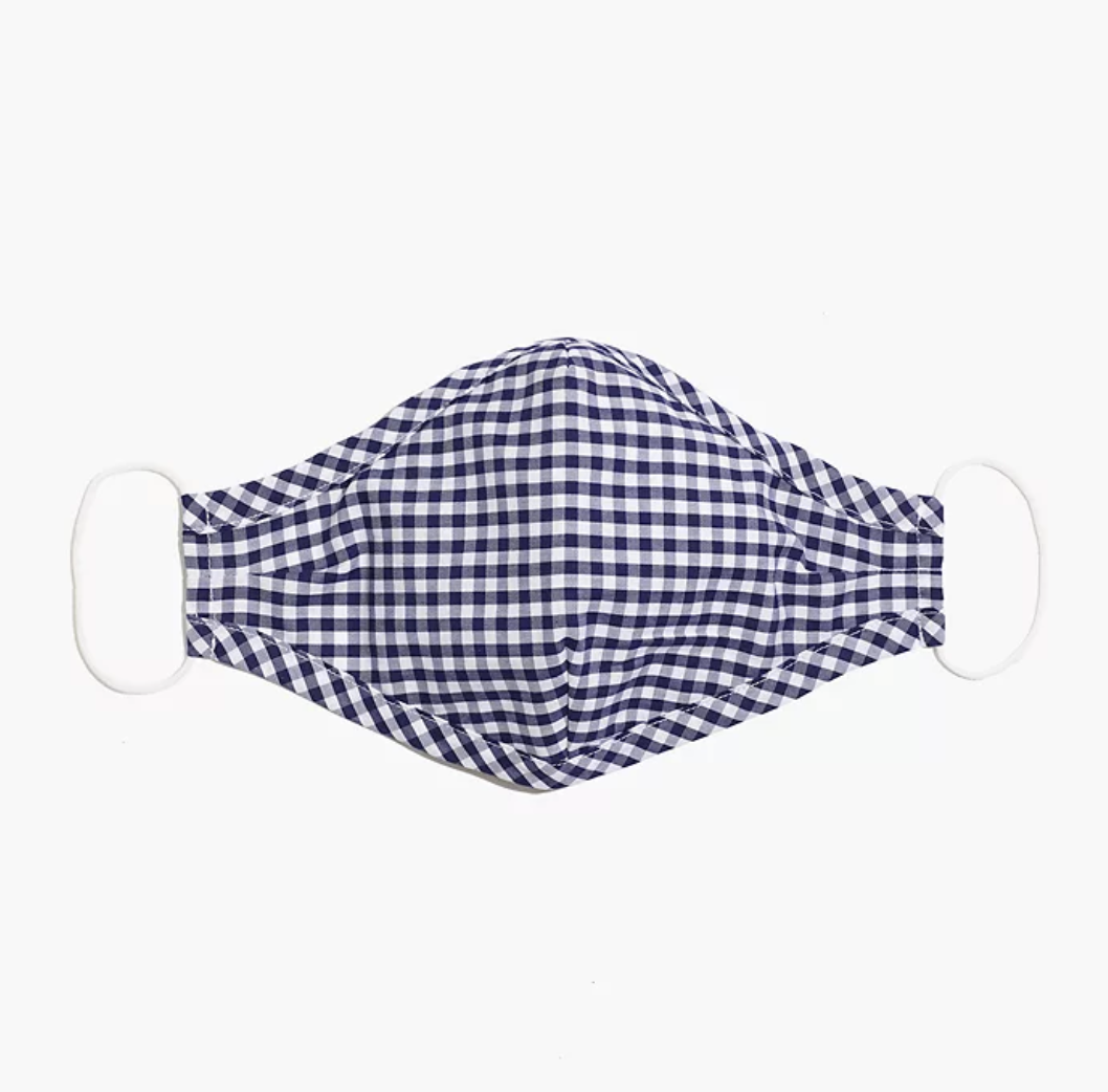 A gingham face mask