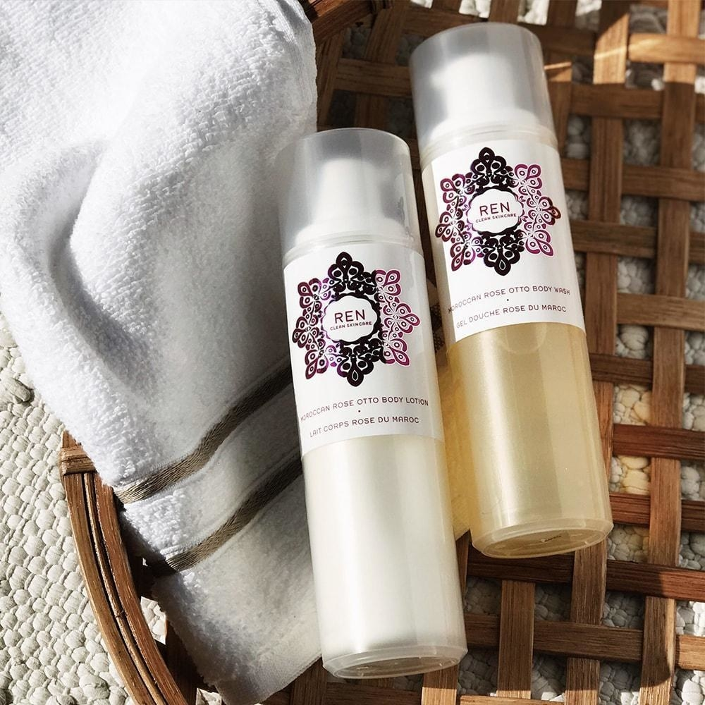 a bottle of the body wash and lotion