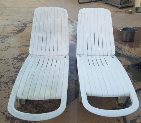 Two PVC chairs in backyard. One covered in weathered stains and gray, the other white and clean after being washed with product.