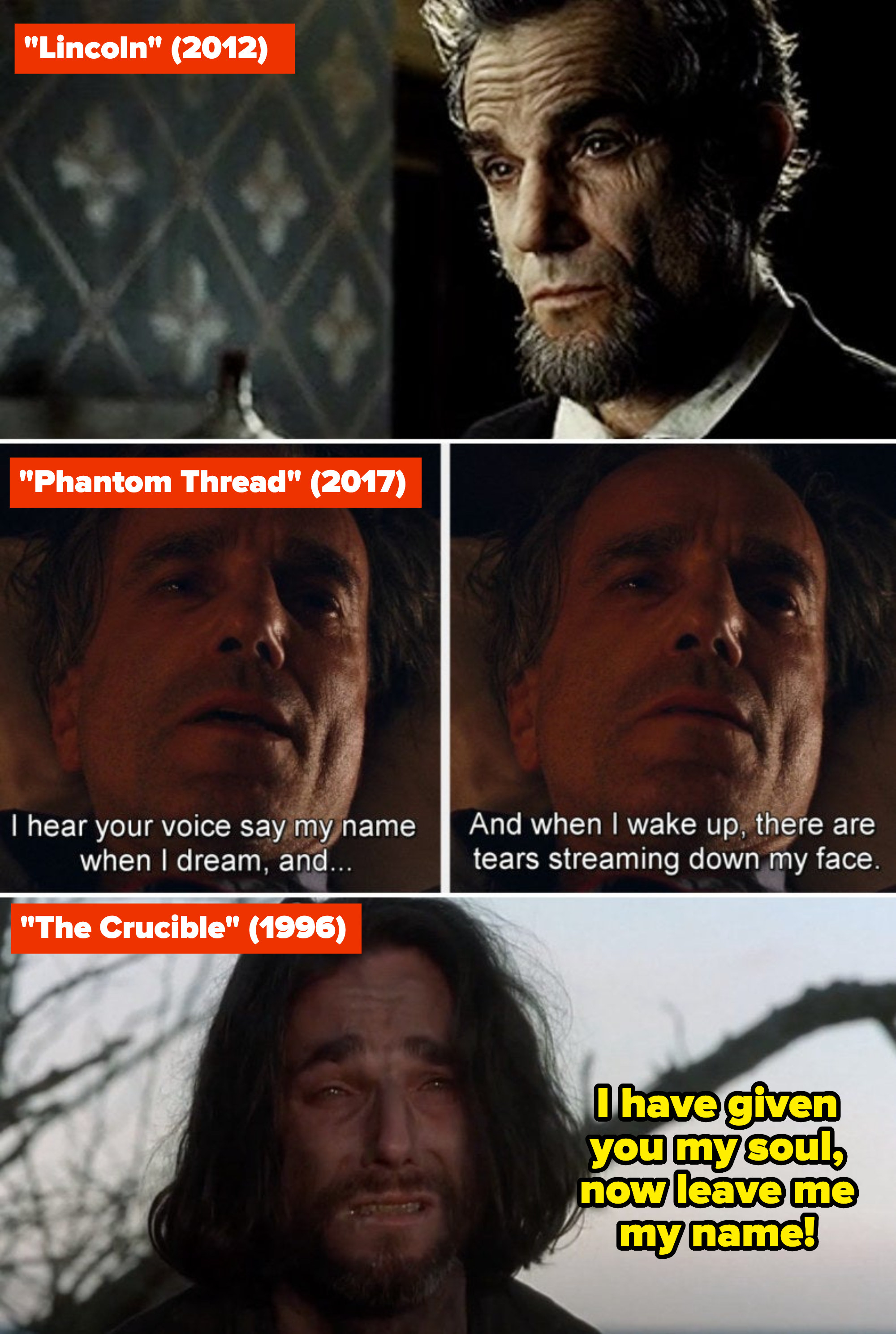 """Daniel Day-Lewis in """"Lincoln,"""" """"Phantom Thread,"""" and """"The Crucible"""""""