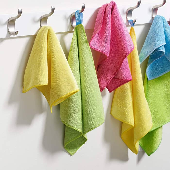 the pink, green, yellow, and blue cloths