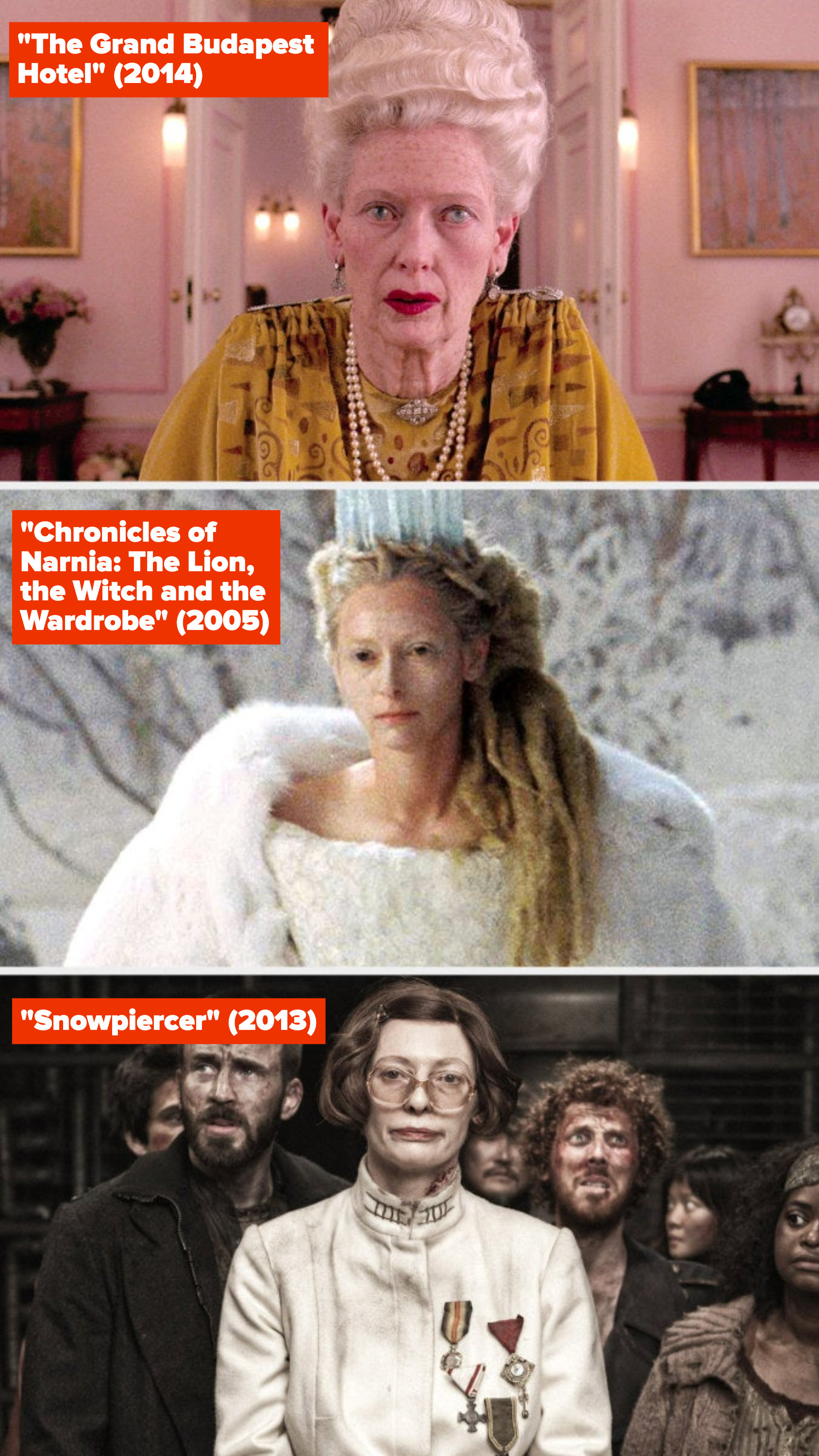 """Tilda Swinton in """"The Grand Budapest Hotel,"""" """"The Chronicles of Narnia,"""" and """"Snowpiercer"""""""