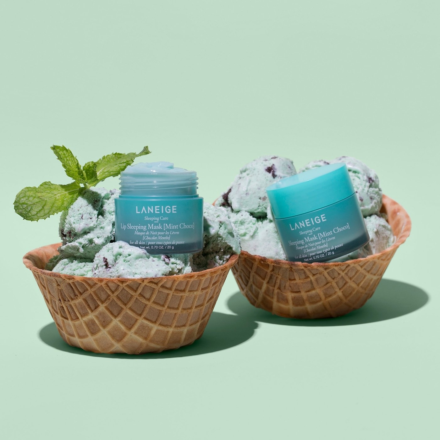 Laneige sleep masks styled in bowl of mint ice cream