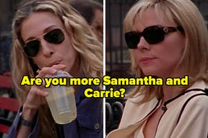"""Sarah Jessica Parker as Carrie Bradshaw and Kim Catrell as Samantha Jones in the show """"Sex and the City."""""""