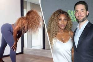 Serena Williams dancing; press photo of Serena Williams and Alexis Ohanian