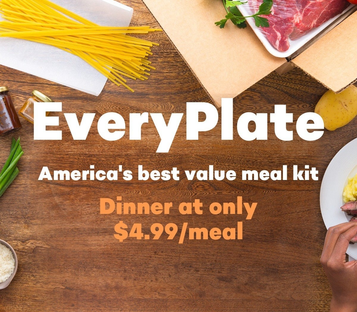 """text that reads """"everyplate: america's best value meal kit"""""""