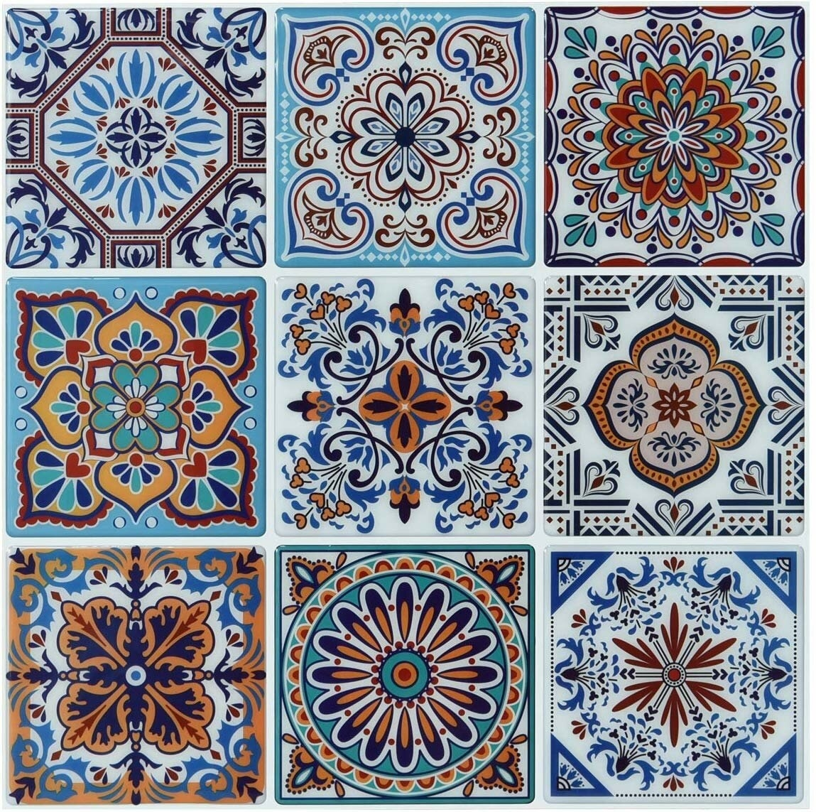 nine different peel and stick tiles