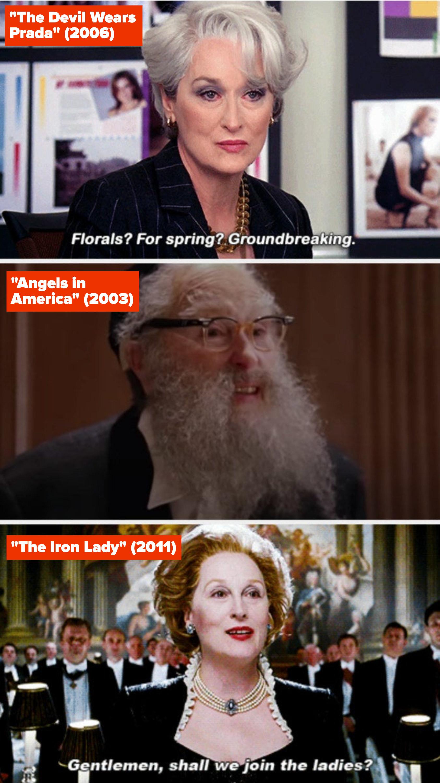 "Meryl Streep in ""The Devil Wears Prada,"" ""Angels in America,"" and ""The Iron Lady"""