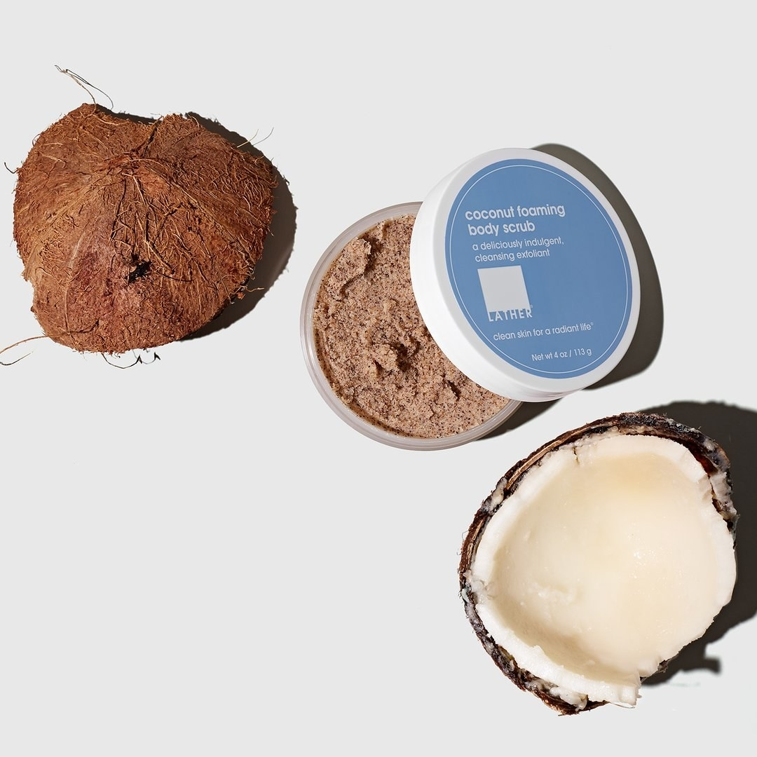 scrub styled with coconuts