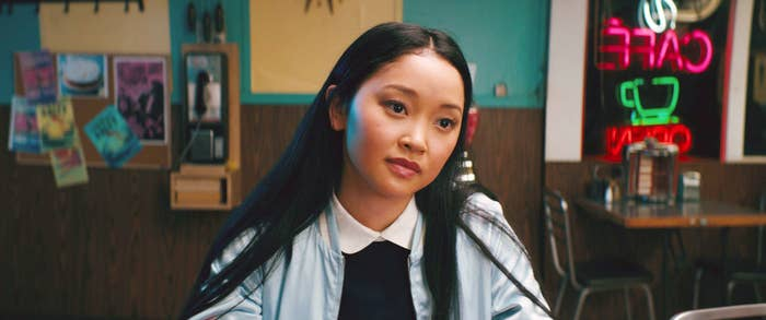 Lana Condor, wearing a jacket and blouse, in To All the Boys I've Loved Before