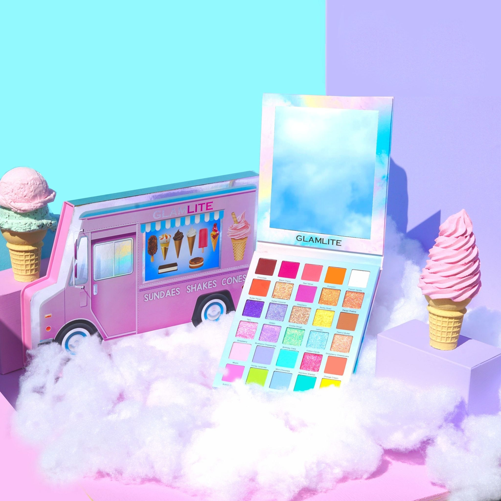 eyeshadow palette styled with ice cream cones