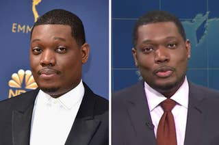 Michael Che posing on the red carpet next to an image of him on Weekend Update