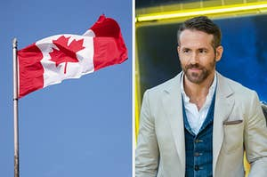 On the left, the Canadian flag flying in the wind, and on the right, Ryan Reynolds, a Canadian icon