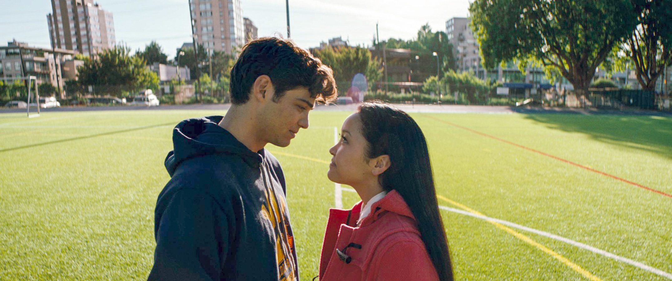 Noah Centineo looks into Lana Condor's eyes in To All the Boys I've Loved Before