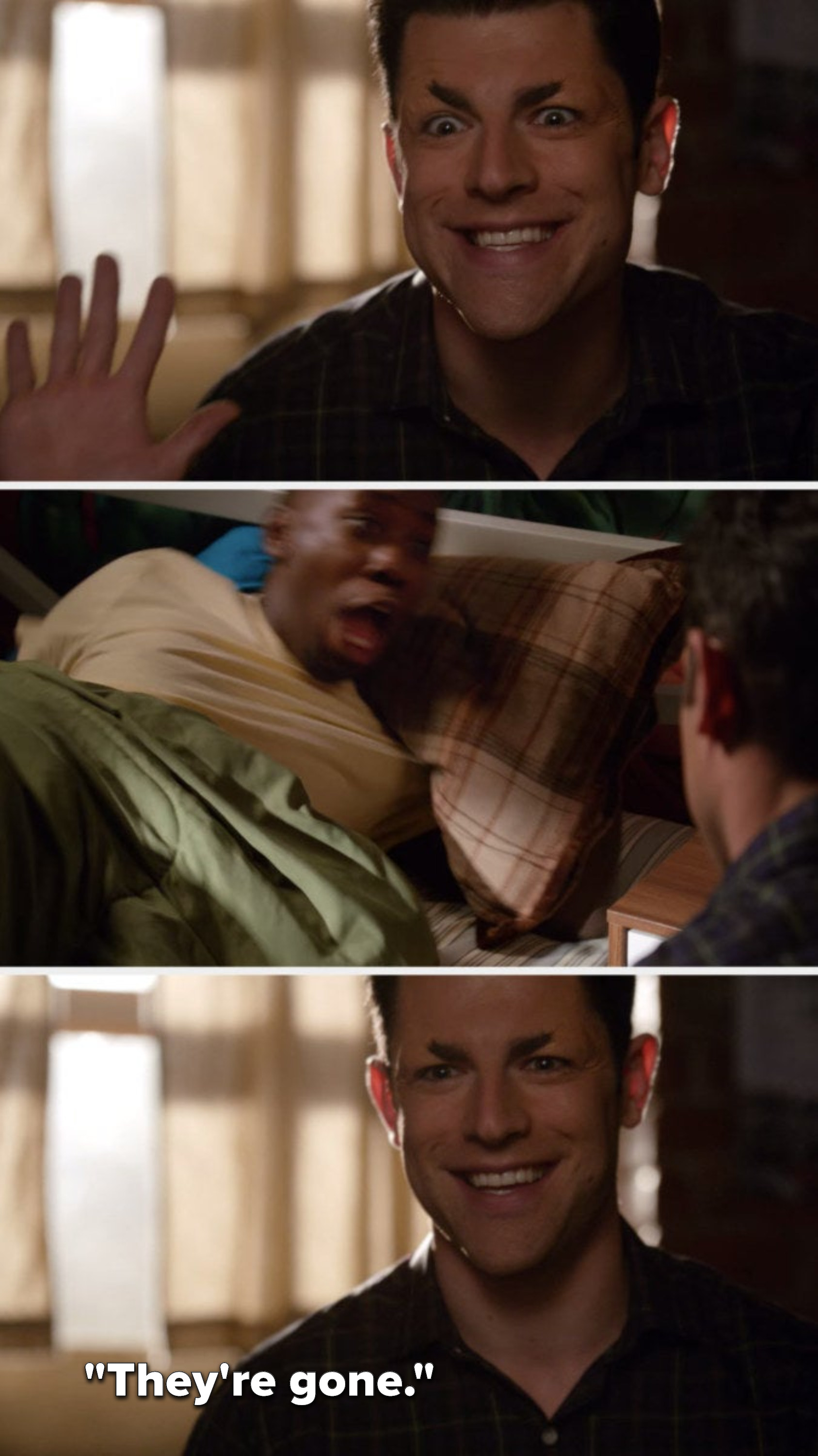 """Schmidt is without most of his eyebrows and smiles at Winston, Winston screams, and Schmidt says, """"They're gone"""""""