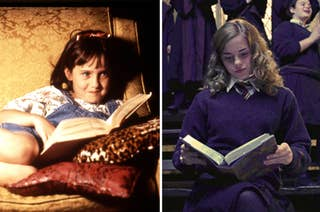 (left) Matilda smirks while reading a book on a chair; (right) Hermione reads a book surrounded by standing people
