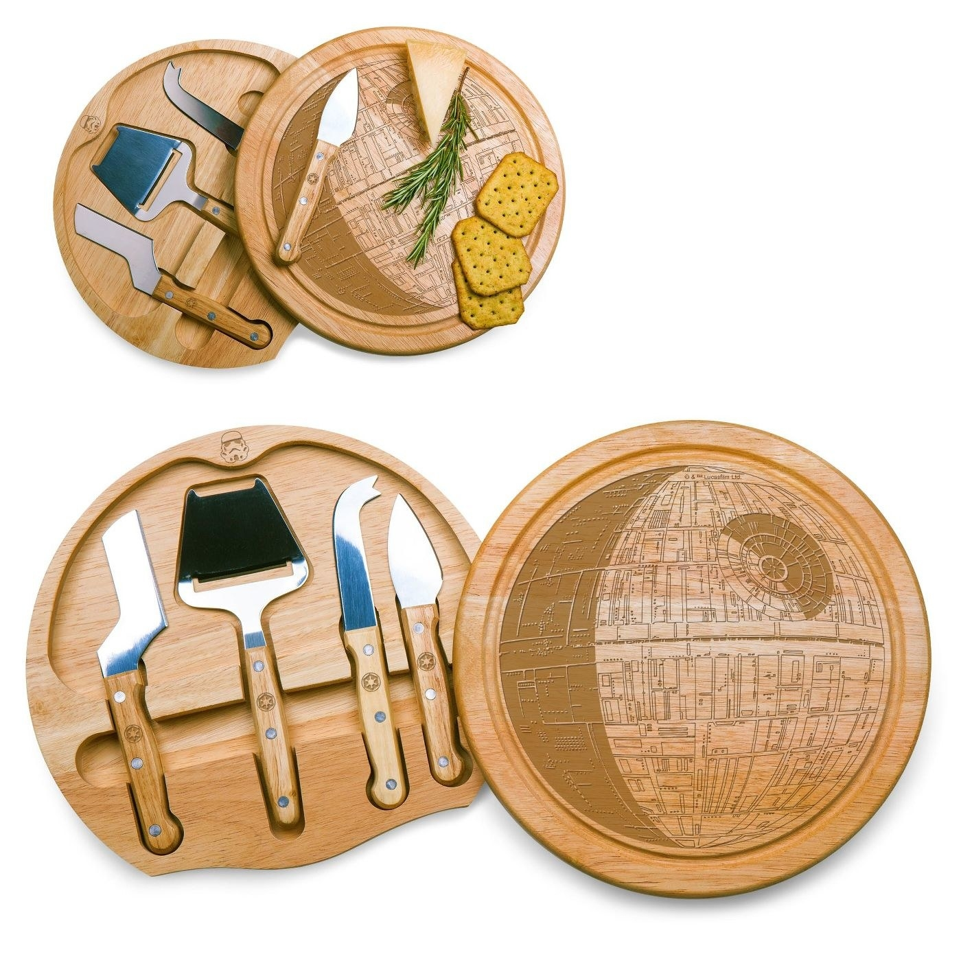 The cutting board, which is round, wood-colored, has an image of the Death Star cut into the top, and holds four cheese knives inside it