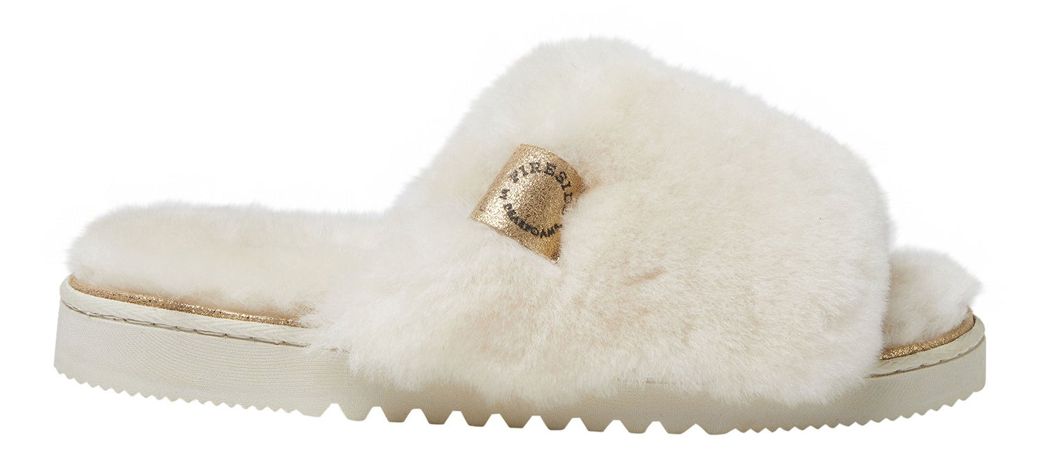 the slippers in white with white fur