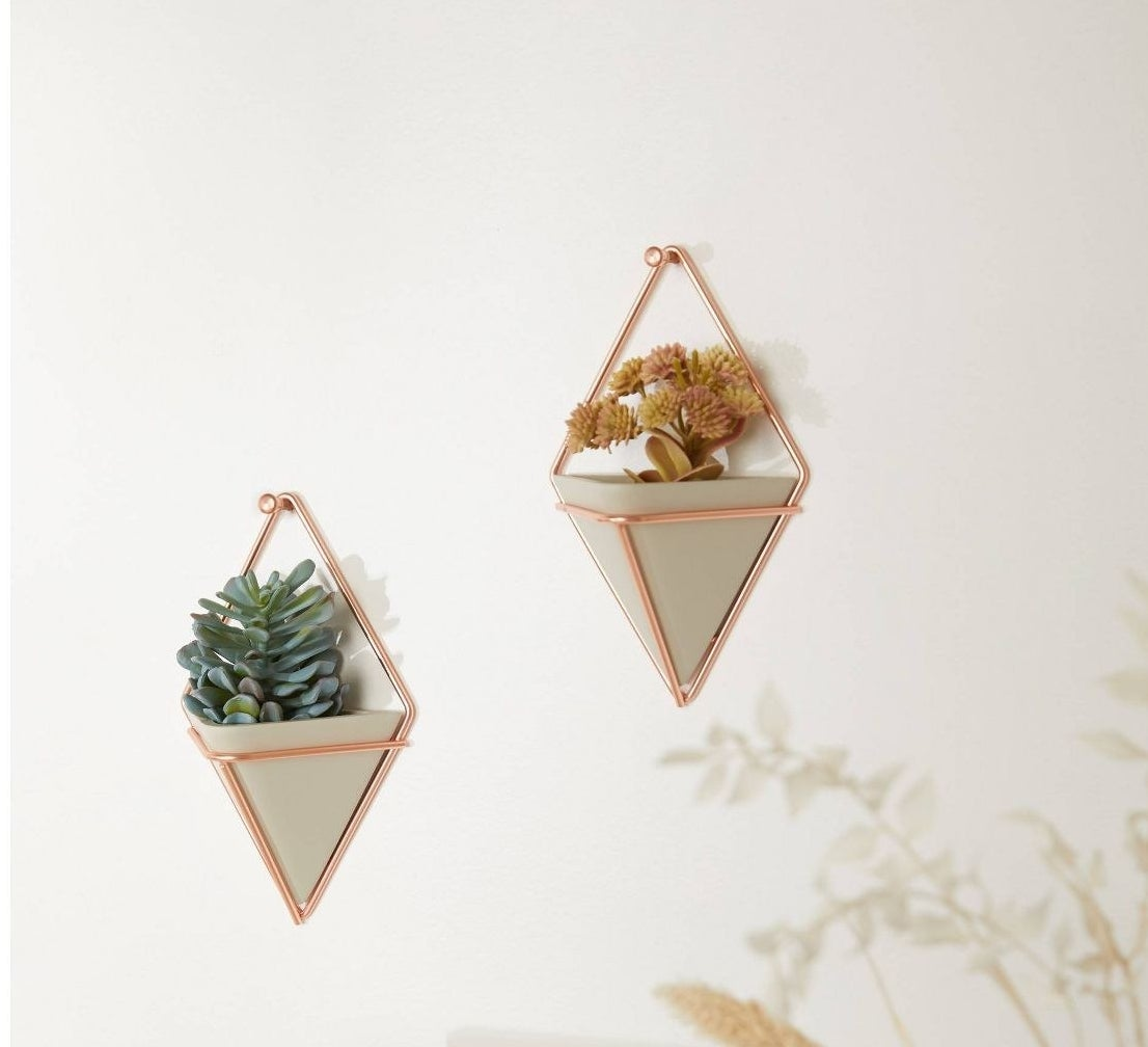 The planters, which are geometric and light-colored, with a brass-colored frame to hang them from the wall