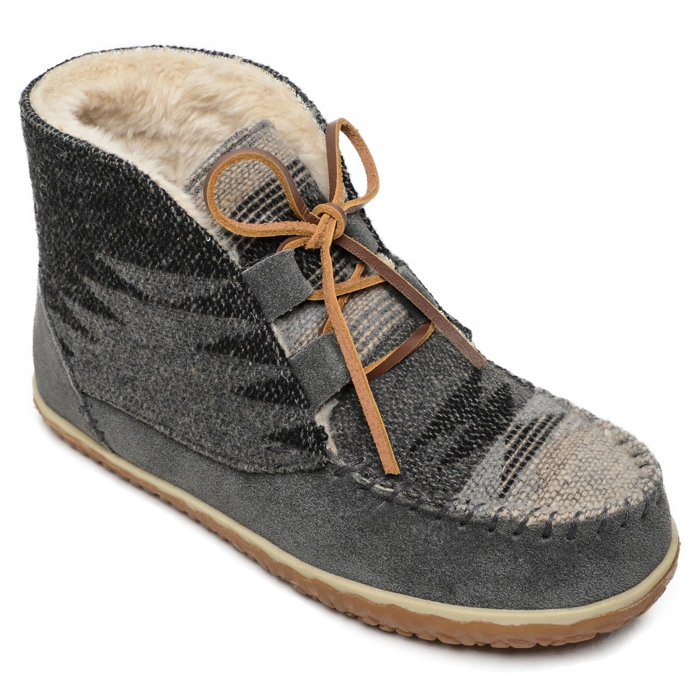 The boots in grey, with suede sides and printed fabric over the toes and on the sides of the booties