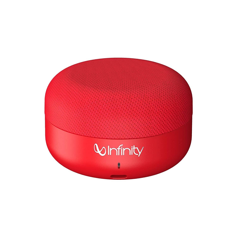 A red JBL speaker