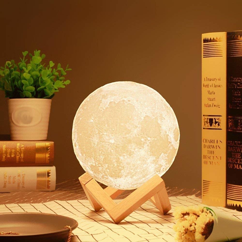 A moon lamp on a table
