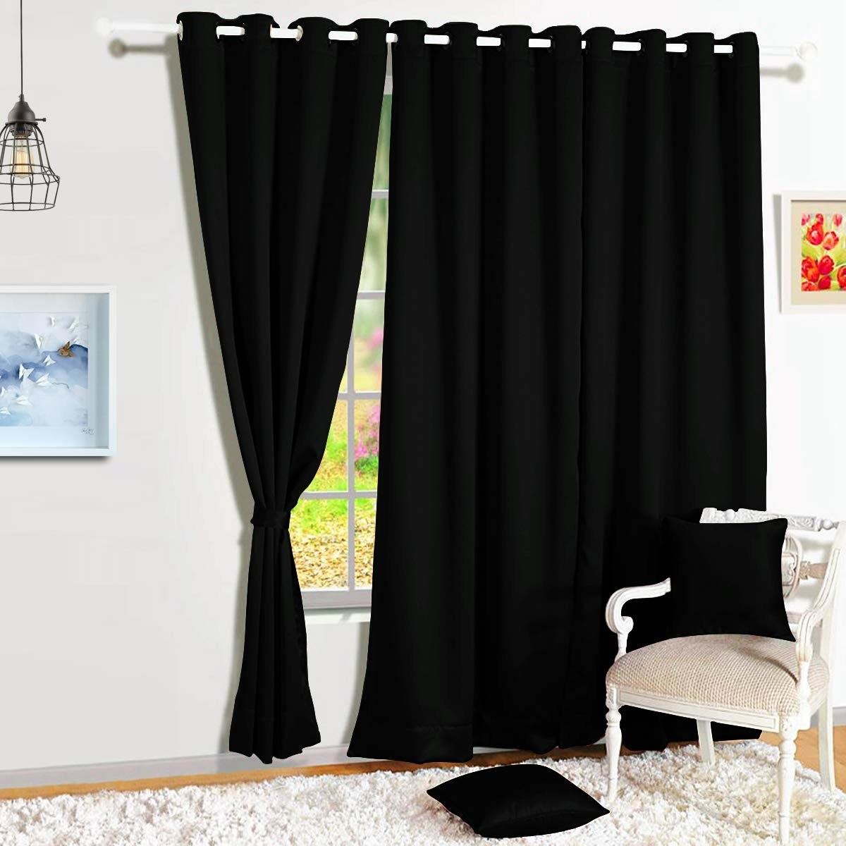 A blackout curtain over a window