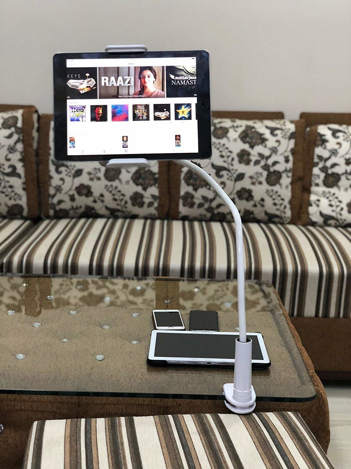 A tablet holder on a table