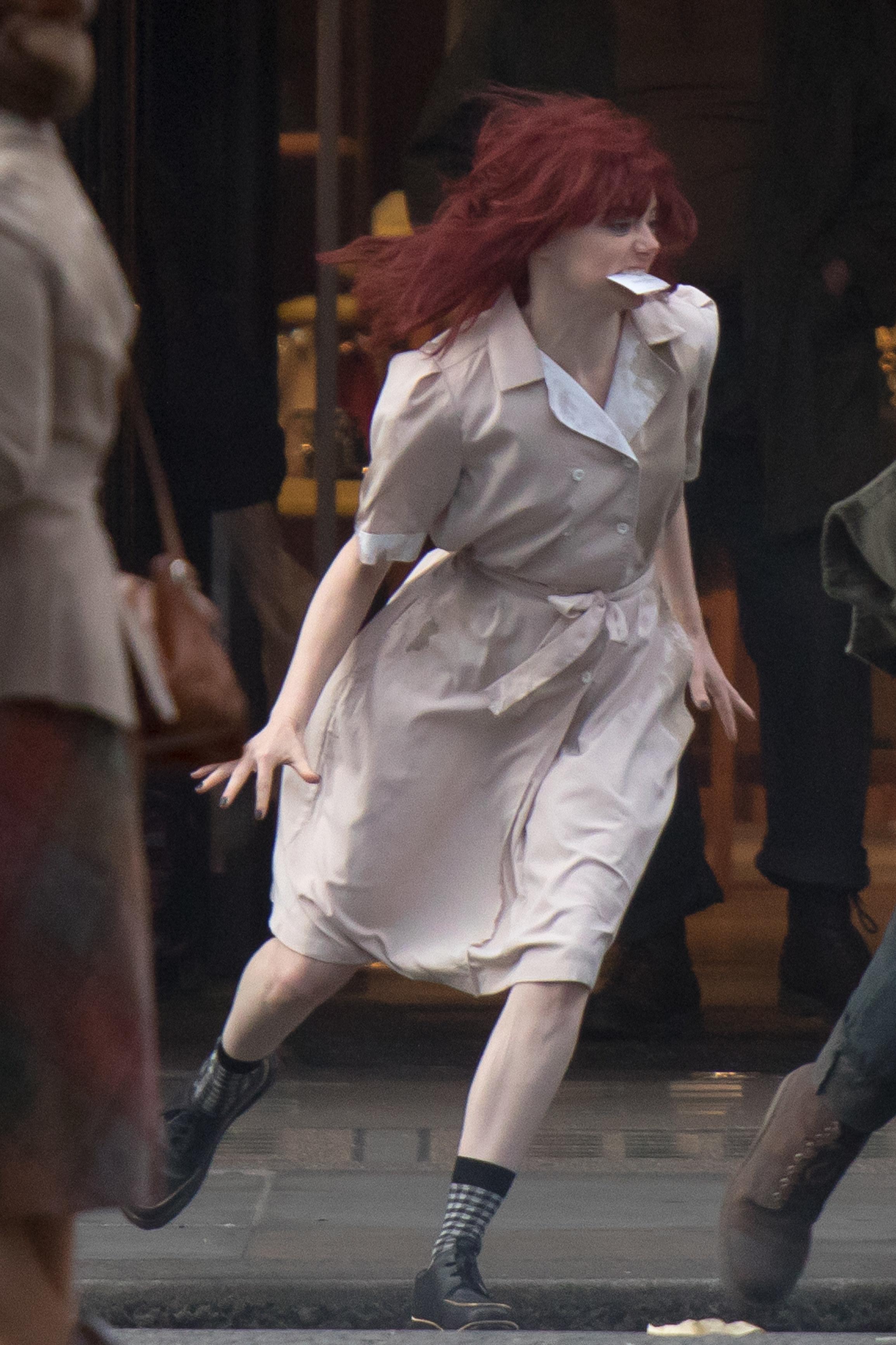 Emma Stone on set for Cruella