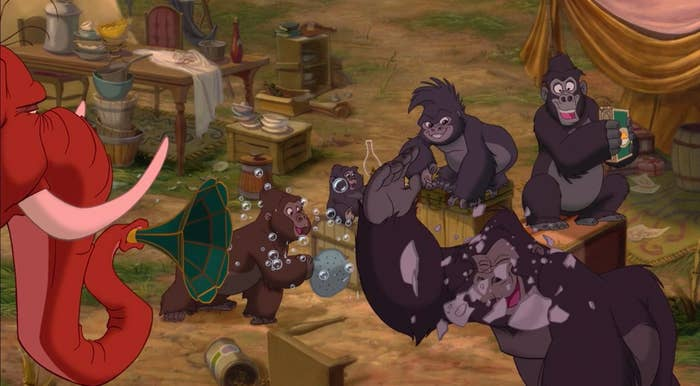 Terk and the other gorillas used things around the campsite to make music